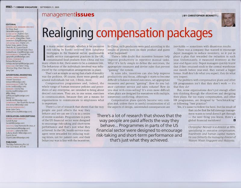 Realigning Comeppmensation Packages - The Edge Singapore - 19  September 2009